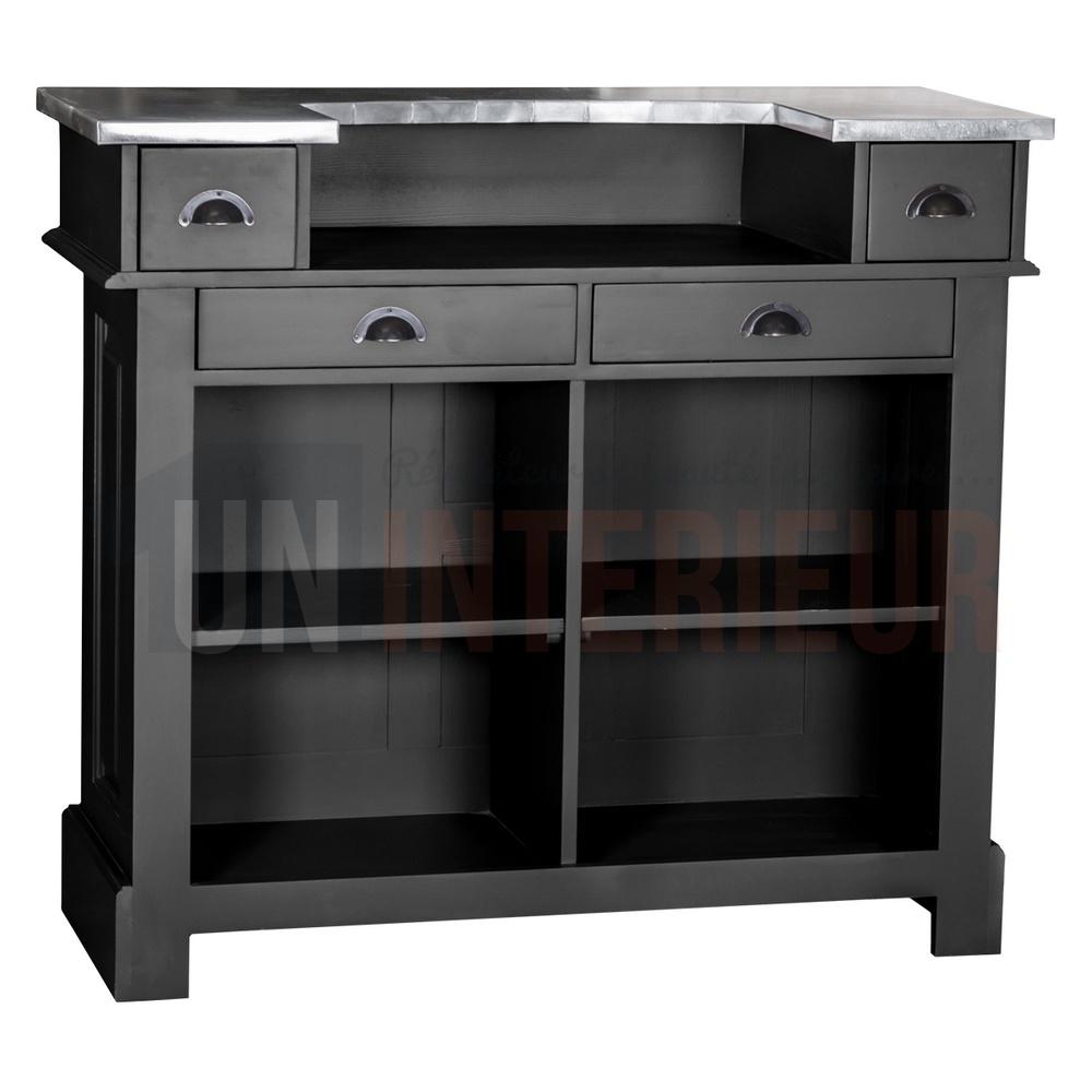 bar pin en 140cm pin massif zinc. Black Bedroom Furniture Sets. Home Design Ideas