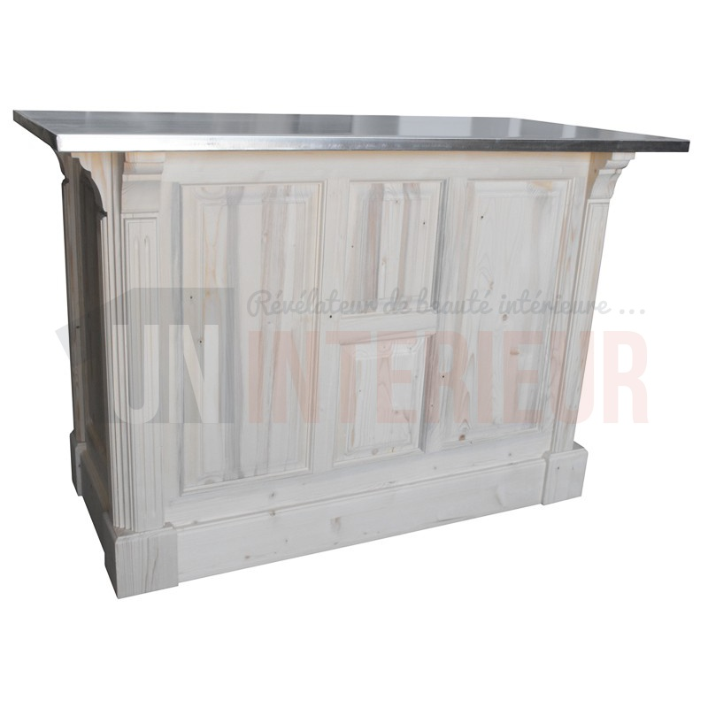 petit comptoir cuisine en pin 120cm zinc. Black Bedroom Furniture Sets. Home Design Ideas