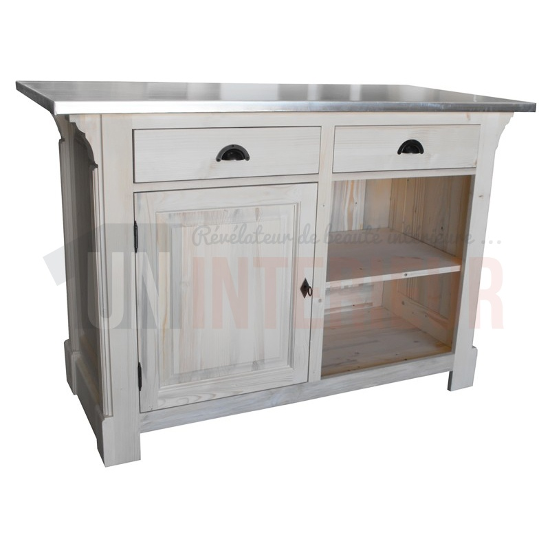 Comptoir passe plat 140cm pin massif en 140 for Meuble comptoir