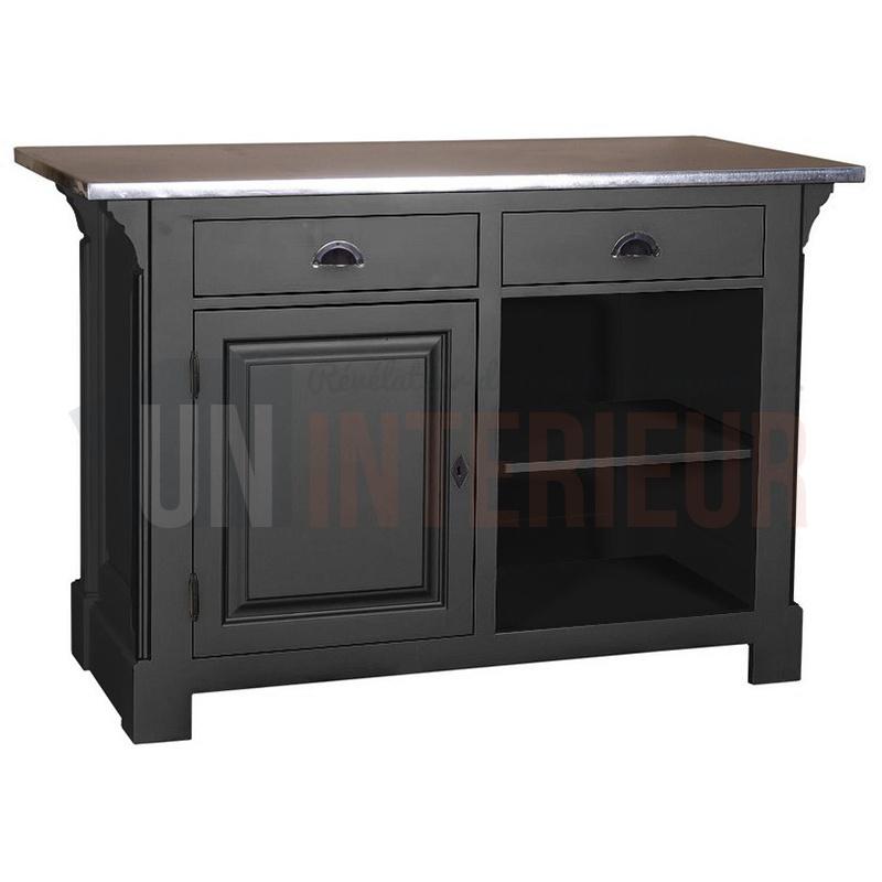 petit comptoir cuisine en pin 120cm - zinc - Meuble Comptoir Cuisine