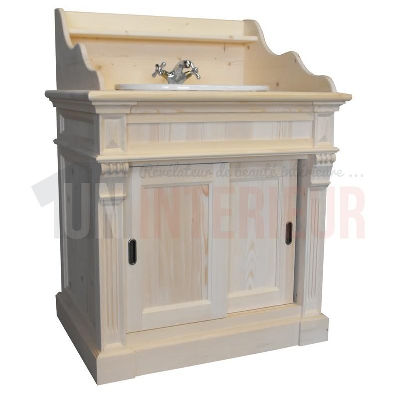 Meuble vasque de salle de bain en pin massif 90cm for Meuble une vasque salle de bain