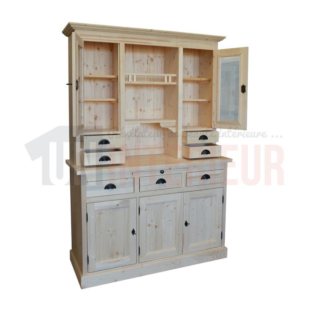 vaisselier 3 portes en pin massif. Black Bedroom Furniture Sets. Home Design Ideas