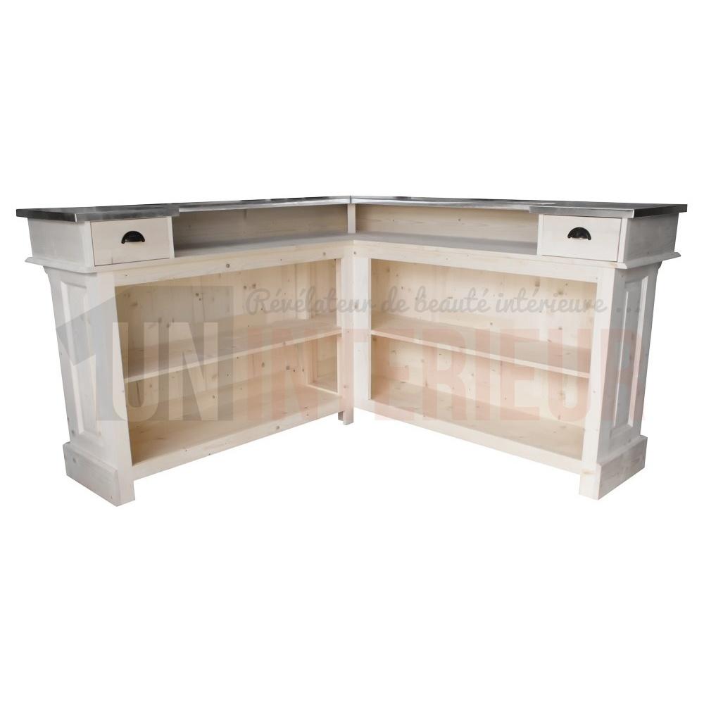 Interieur D Un Bar comptoir de bar d'angle 180cm x 180cm en pin massif et zinc - chester