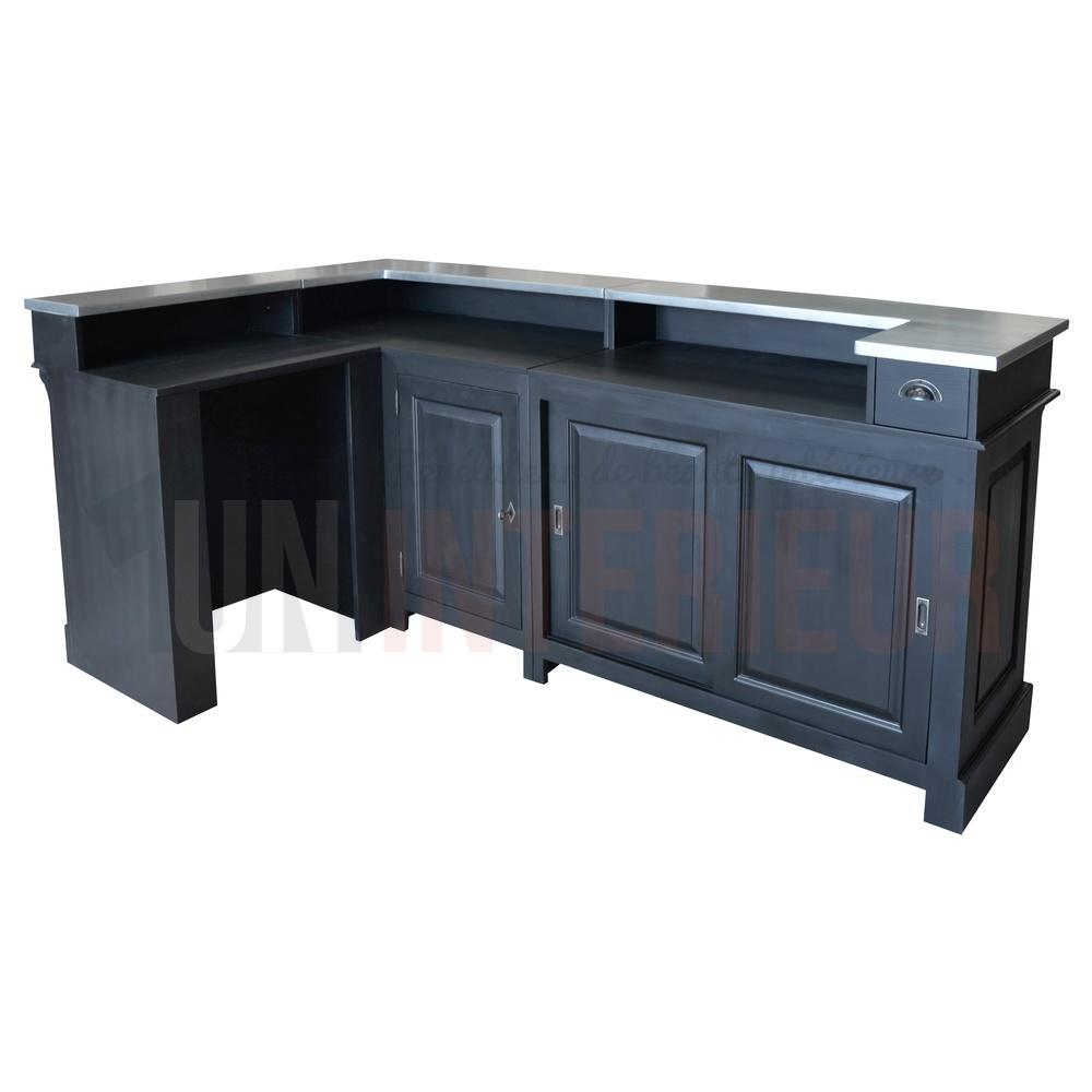 Meuble Mini Bar D Angle comptoir de bar d'angle en pin massif 240cm x 140cm avec espace frigo,  retour à gauche - chester