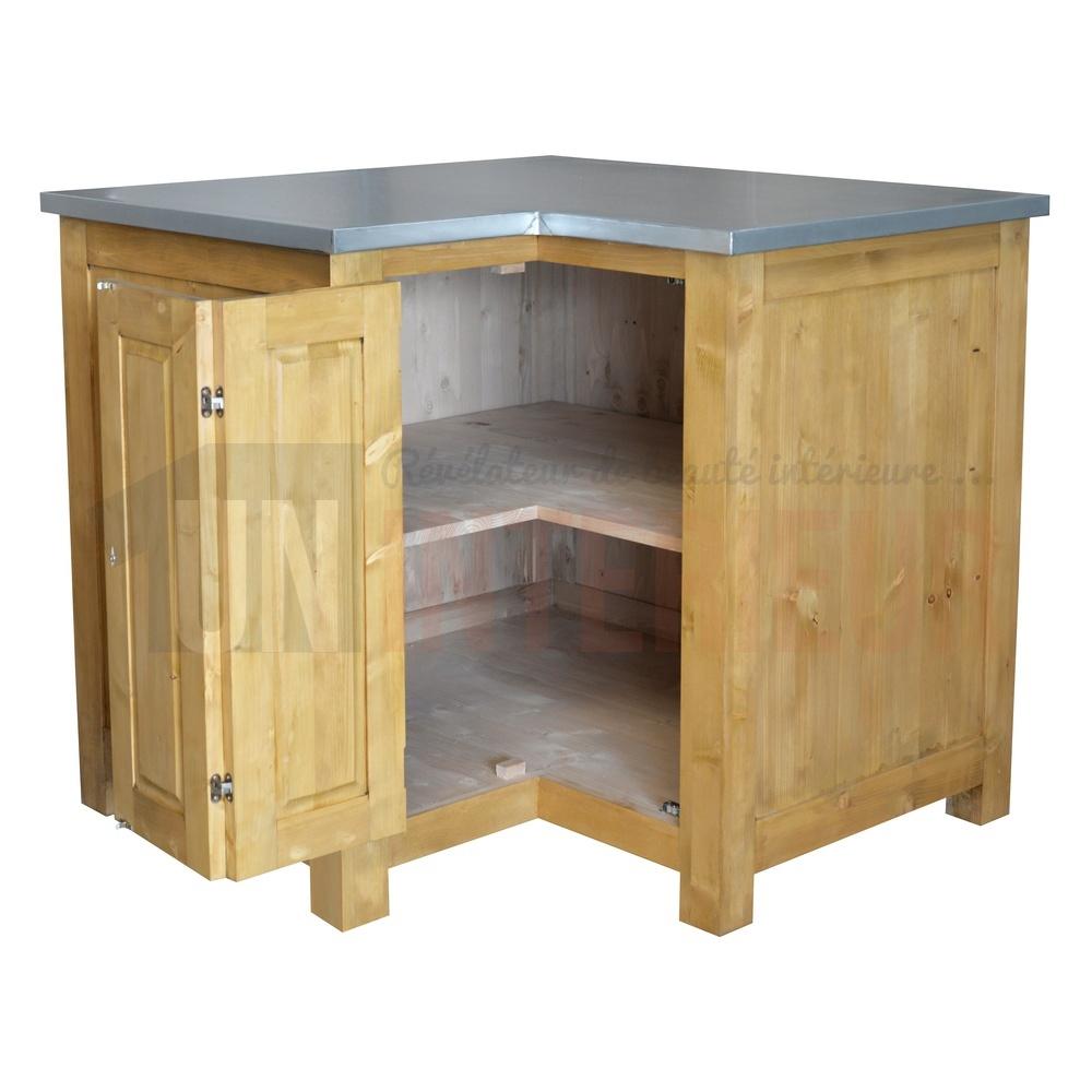 Meuble En Pin Ciré meuble d'angle rangement de cuisine en pin massif - straight