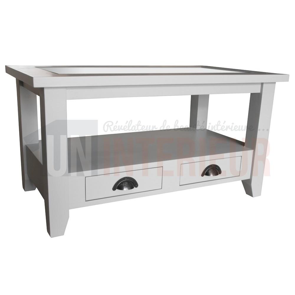 Table Basse Sur Mesure Plateau Verre 90cm