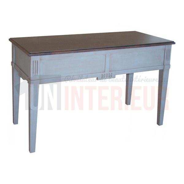 Meuble de bureau informatique avec 2 tiroirs en pin - Bureau informatique en pin ...