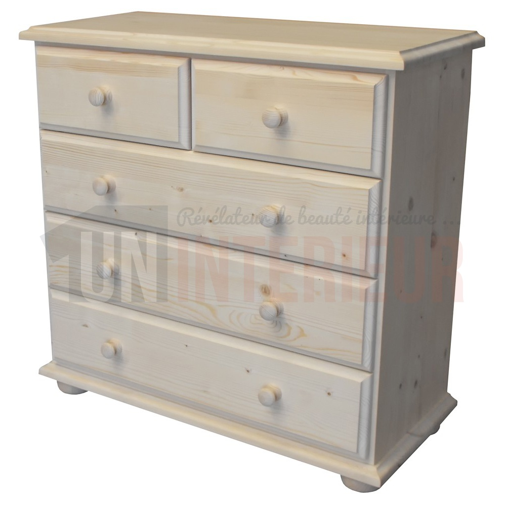 commode 5 tiroirs en pin massif