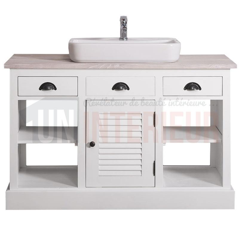 Meuble bain en pin massif avec vasque céramique à poser incluse - Mayfair