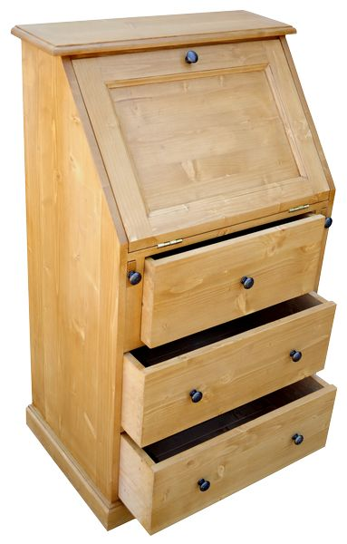 Secr taire en pin massif type scriban dos d 39 ne for Petit meuble secretaire