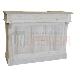 Meuble bar bistrot en pin massif de 140cm de large - Chester