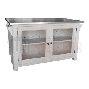 acheter lot central de cuisine zinc pin massif. Black Bedroom Furniture Sets. Home Design Ideas