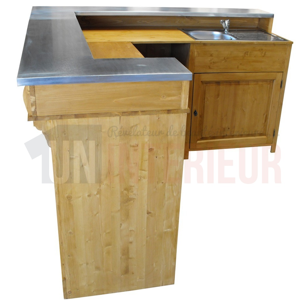 comptoir de bar d 39 angle avec vier 190 x 140 cm. Black Bedroom Furniture Sets. Home Design Ideas