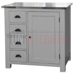 Rangement de cuisine en pin massif 4 tiroirs 1 porte for Plaque de zinc pour recouvrir un meuble