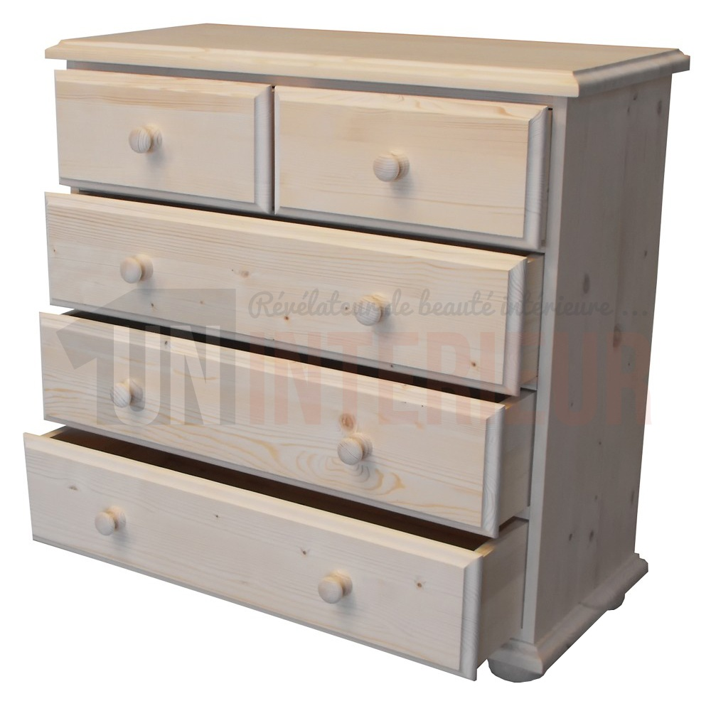 Commode pin massif - Commode grise 6 tiroirs ...