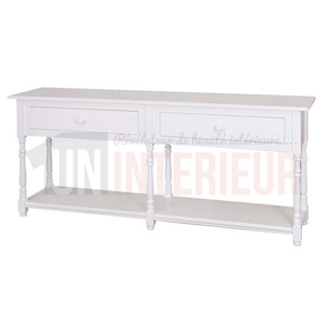 Grande console en pin massif, 2 tiroirs - Margery