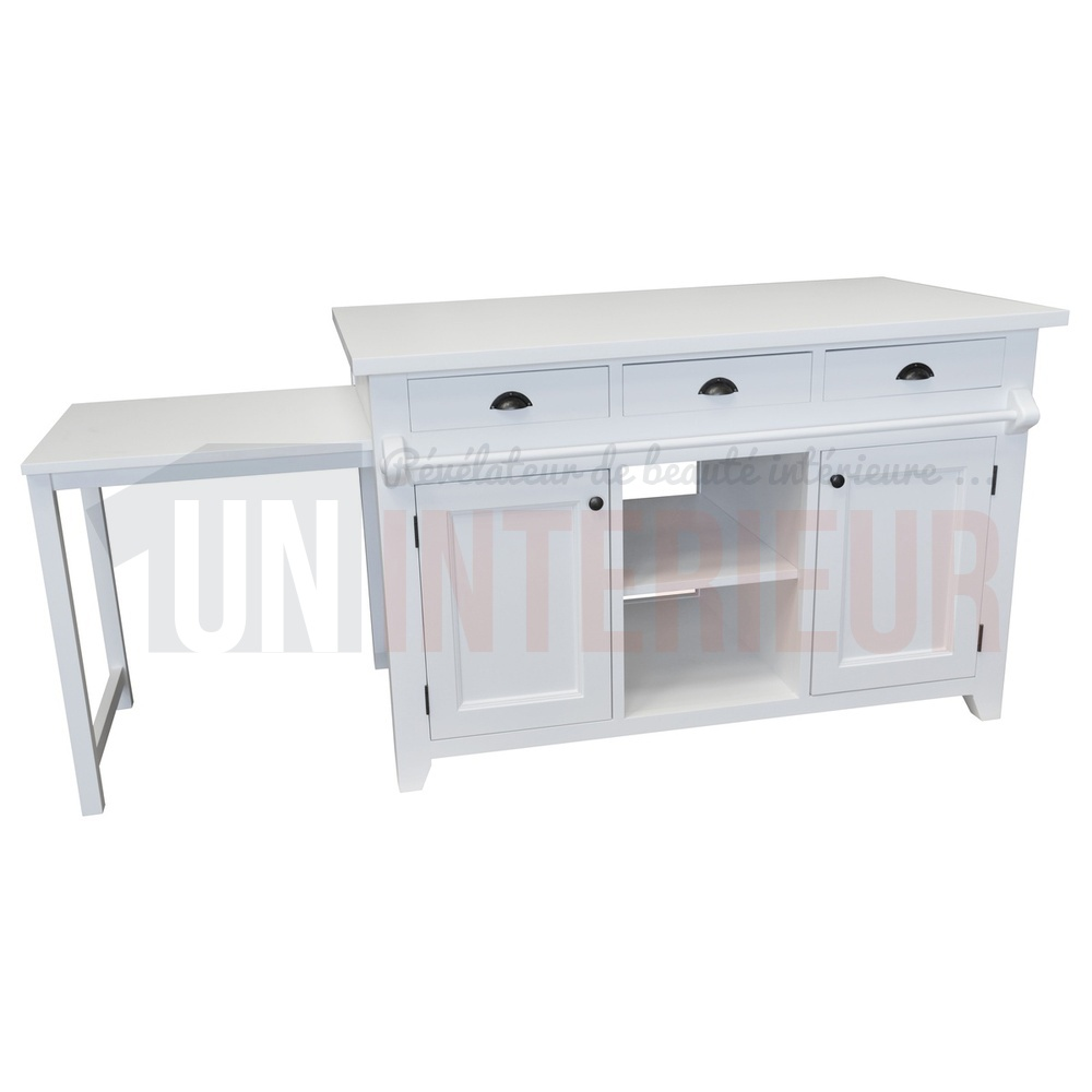 Ilot Central Cuisine Table A Manger: Ilot Central De Cuisine En Pin Avec Table