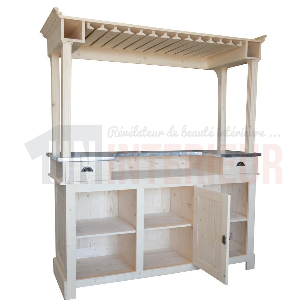 ciel de bar bar en 180cm avec galerie pin et zinc. Black Bedroom Furniture Sets. Home Design Ideas