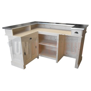 Bar d 39 angle 180cm x 140cm en pin massif chr for Meuble comptoir bar professionnel