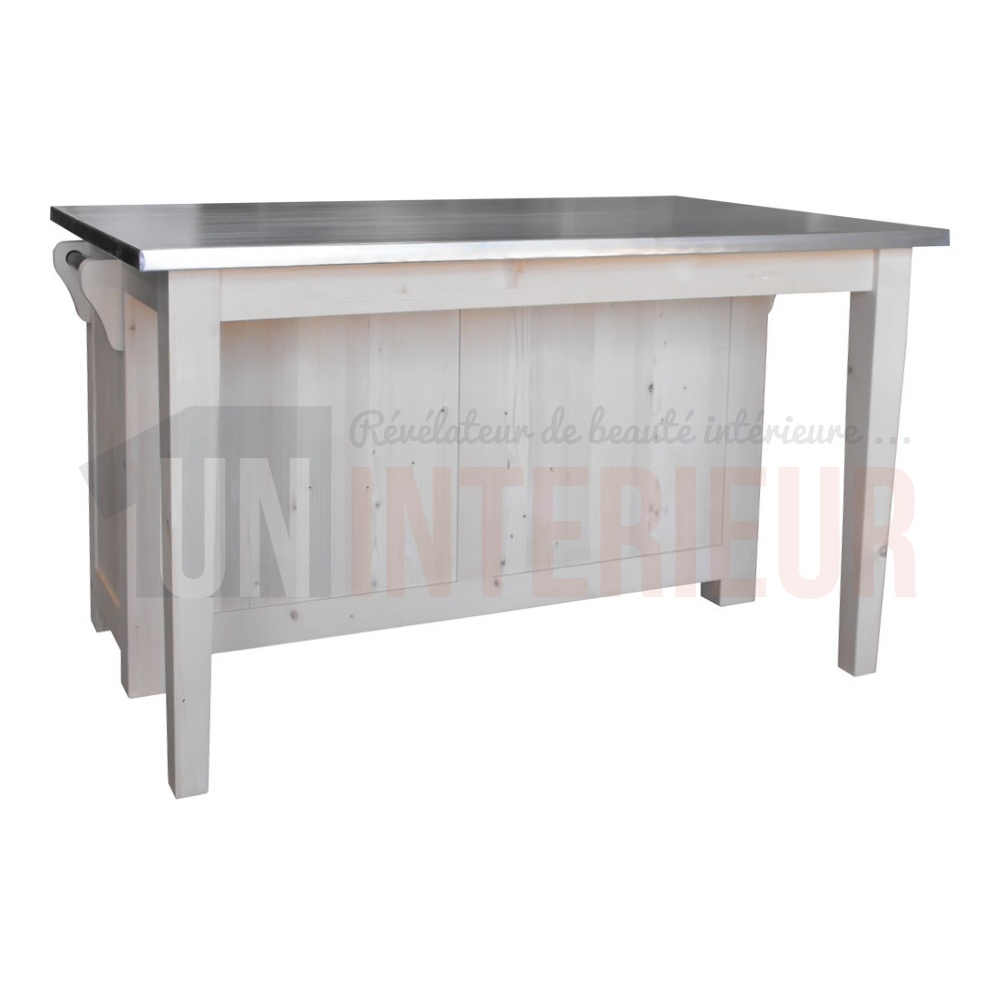 Chinon table ilot central en pin massif - Table cuisine pin massif ...