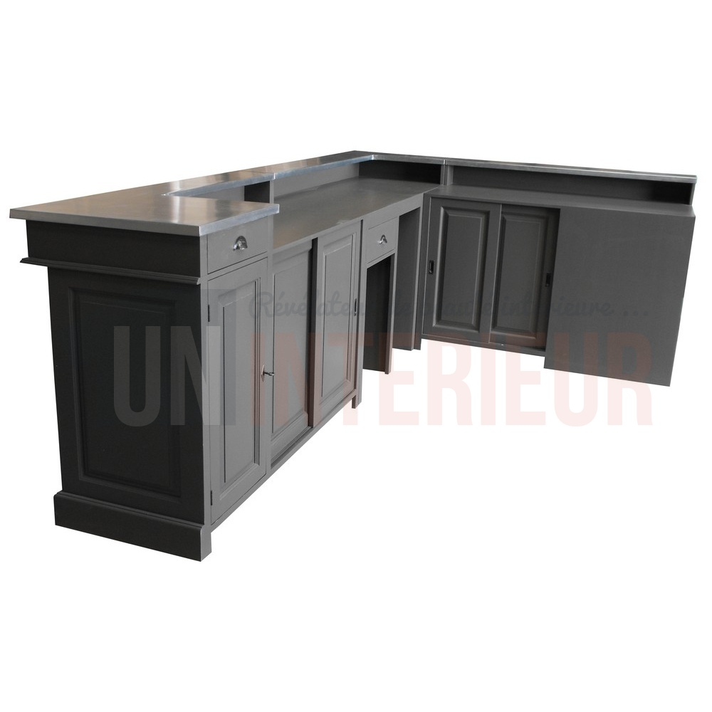 bar professionnel d 39 angle en pin massif plateau zinc. Black Bedroom Furniture Sets. Home Design Ideas