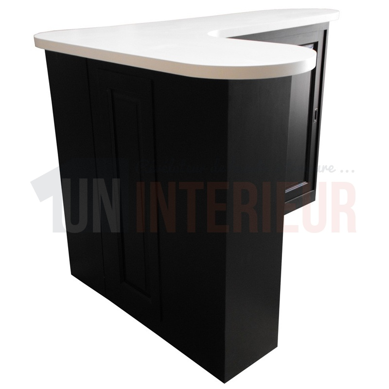 Table basse avec angle arrondi for Meuble tv angle noir