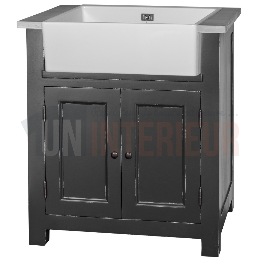 Meuble vier timbre d 39 office inclus en pin massif for Meuble evier