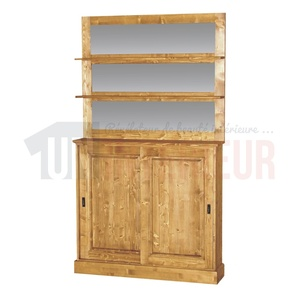 Meuble fond de comptoir de bar en pin massif 120cm - Glasgow