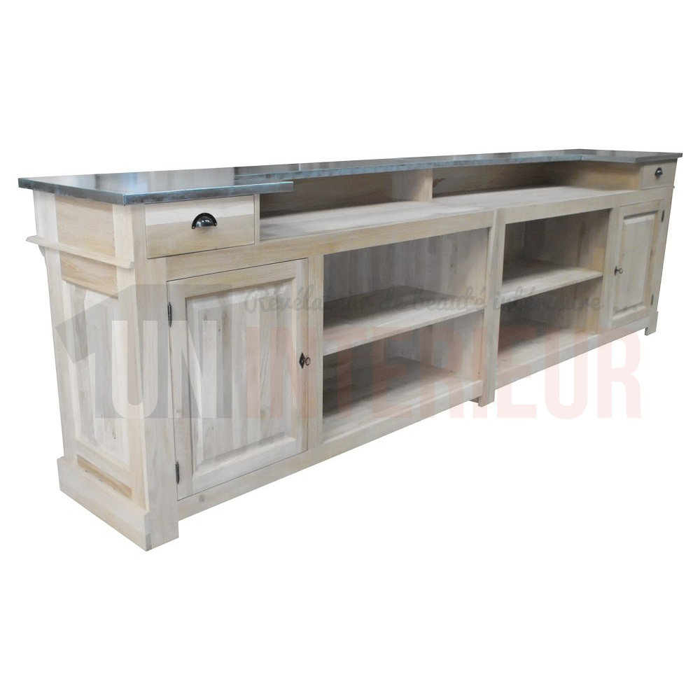 comptoir bar chr en ch ne massif 360cm plateau zinc. Black Bedroom Furniture Sets. Home Design Ideas