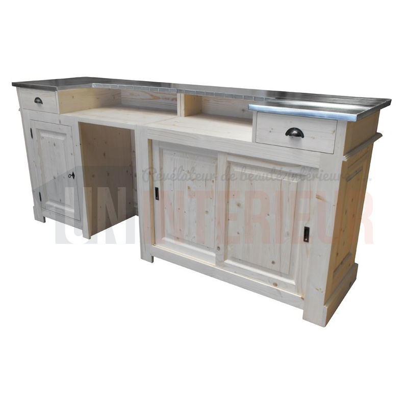Comptoir bar d 39 accueil 240cm chr pin zinc for Meuble de bar
