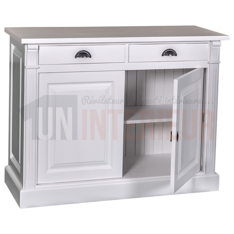bahut 120cm en pin massif 2 tiroirs. Black Bedroom Furniture Sets. Home Design Ideas