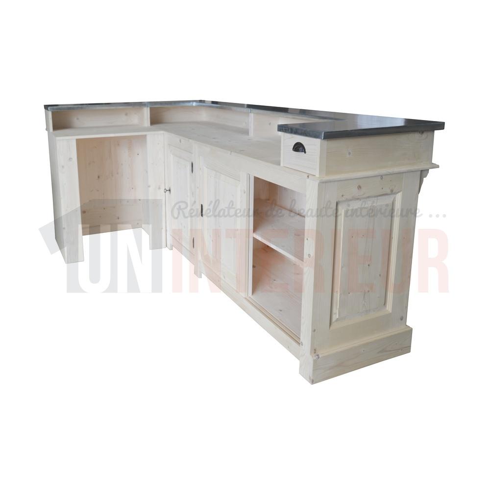 bar d 39 angle 240cm x 140cm en pin massif chr. Black Bedroom Furniture Sets. Home Design Ideas