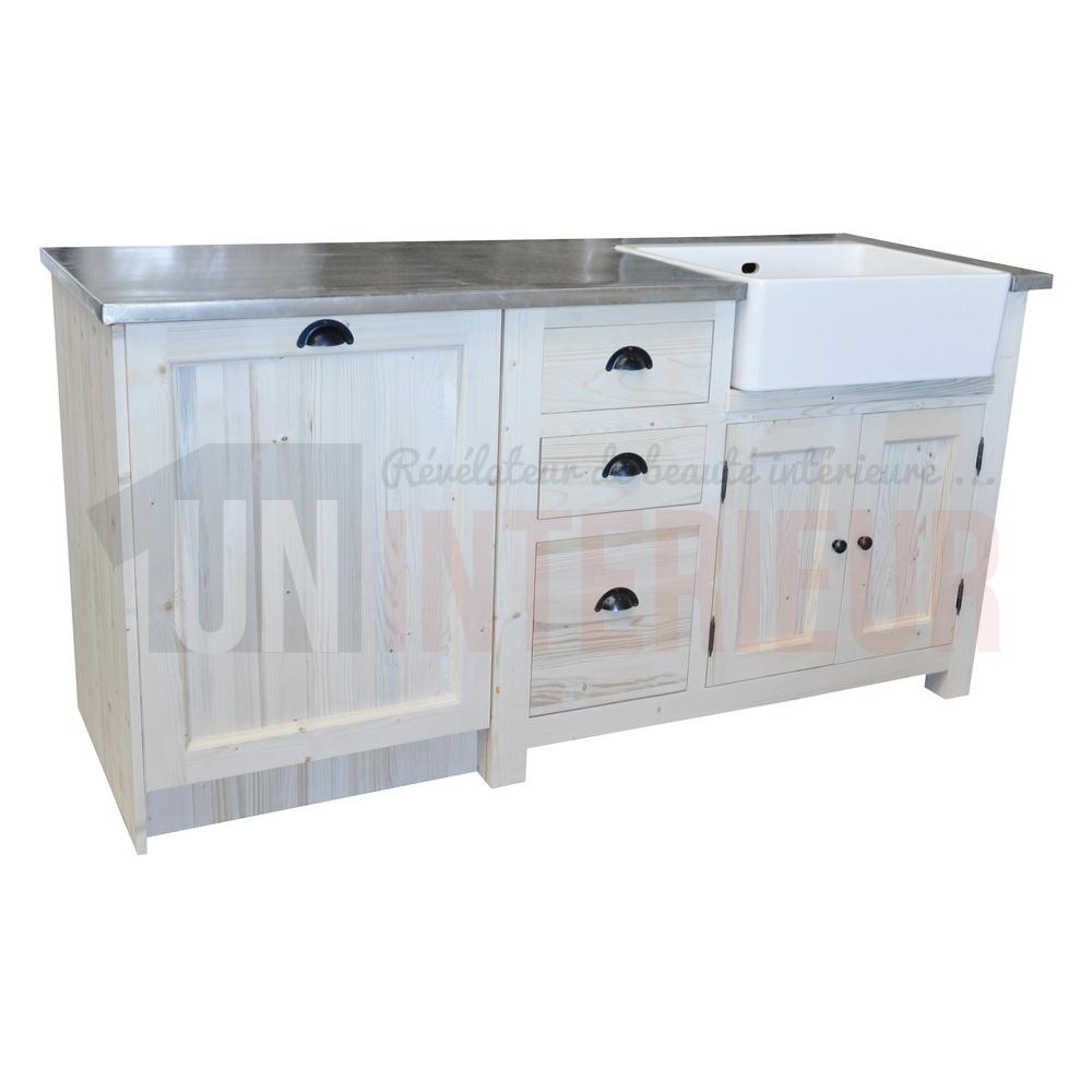 Grand meuble évier et lave-vaisselle de cuisine en pin massif, évier timbre  à droite - Straight