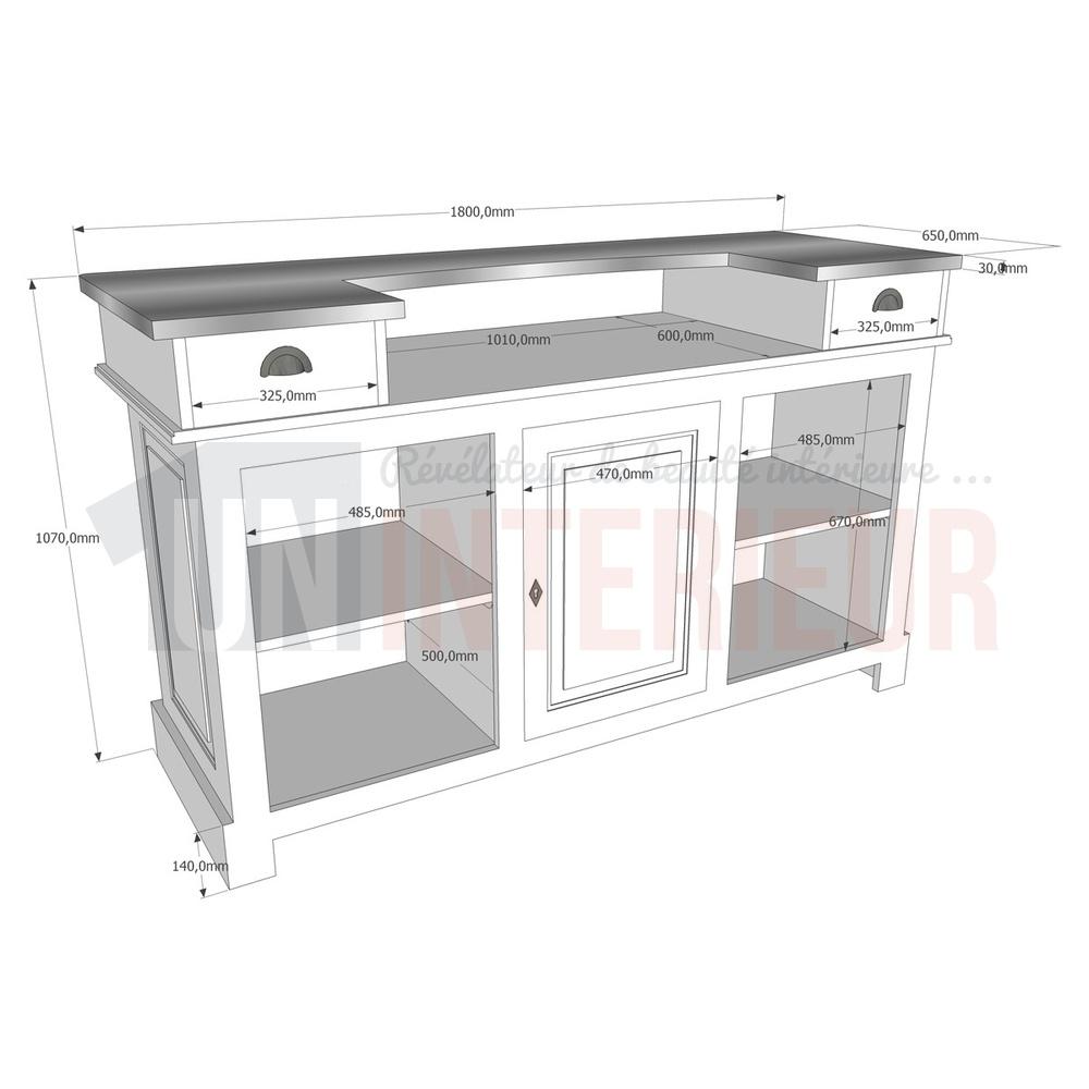 Meuble comptoir bar 180cm pin zinc for Largeur bar cuisine