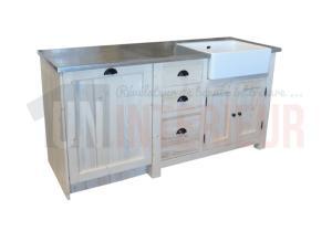 Meuble vier avec timbre d 39 office et espace lave vaisselle pin massif zinc - Meuble pour lave vaisselle en hauteur ...