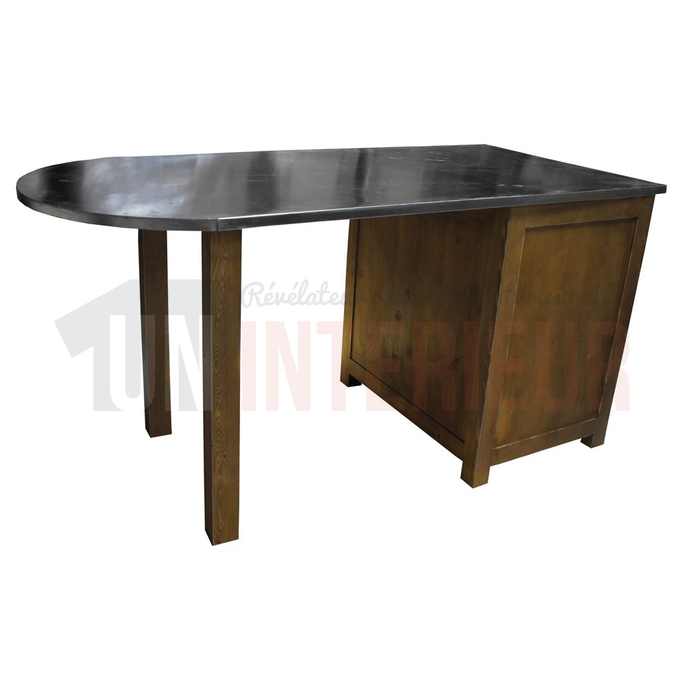 Table pôle central surmesure en pin massif plateau zinc