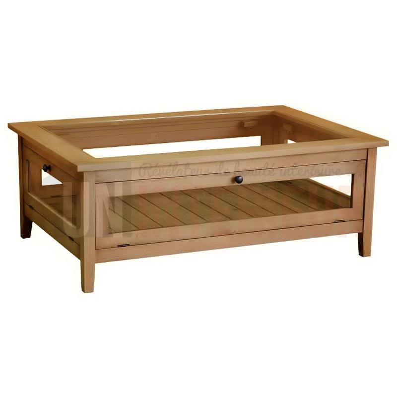 table basse collectionneur rectangulaire en pin massif. Black Bedroom Furniture Sets. Home Design Ideas