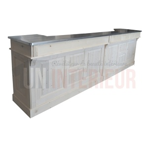 Grand comptoir bar CHR en pin massif 360cm - Chester