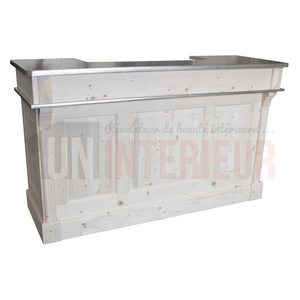 Meuble de bar en pin massif, double plateau zinc 180cm - Chester