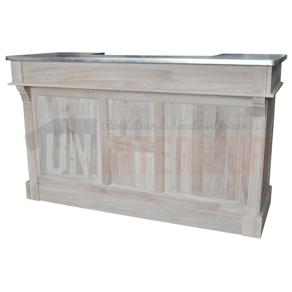 meuble de bar zinc en ch ne 180cm. Black Bedroom Furniture Sets. Home Design Ideas