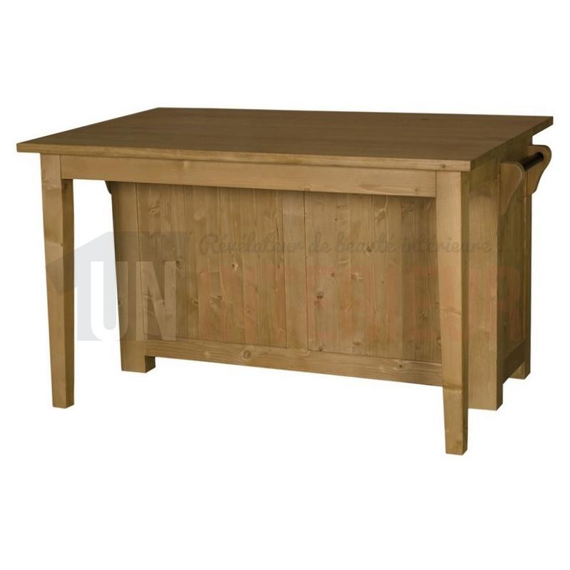 Ilot cuisine bois massif ilot central en bois massif with - Ilot cuisine bois massif ...