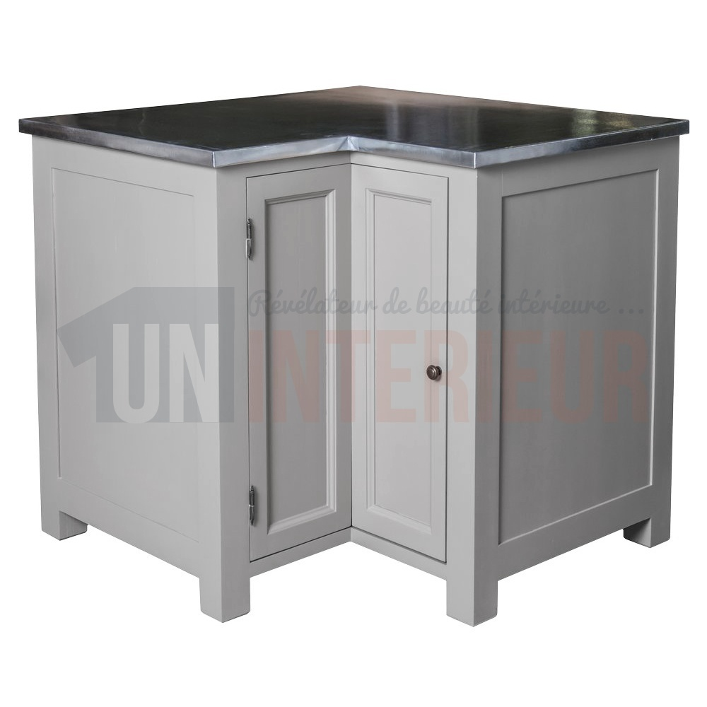 acheter meuble d 39 angle de cuisine zinc pin massif. Black Bedroom Furniture Sets. Home Design Ideas