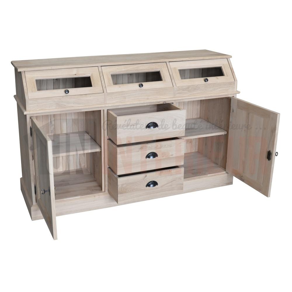 buffet apothicaire en ch ne massif en 160cm de large. Black Bedroom Furniture Sets. Home Design Ideas