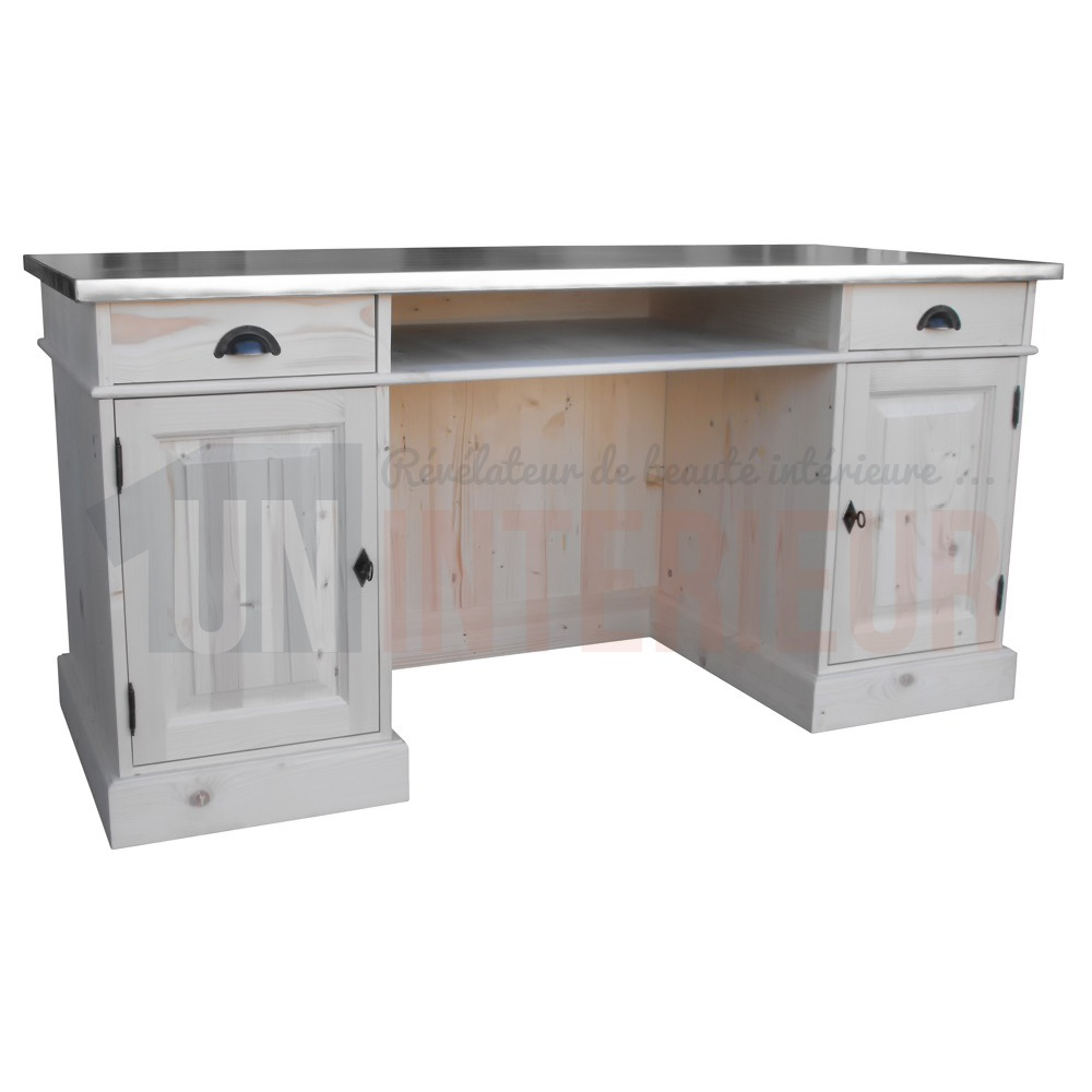 bureau d 39 accueil style bar 160cm pin massif zinc. Black Bedroom Furniture Sets. Home Design Ideas