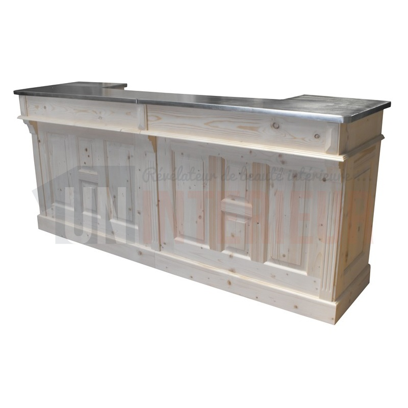 comptoir bar d 39 accueil 240cm chr pin zinc. Black Bedroom Furniture Sets. Home Design Ideas