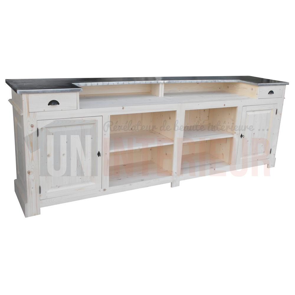Comptoir Bar De 3 M Tres Ou 300cm Chr Pin Zinc