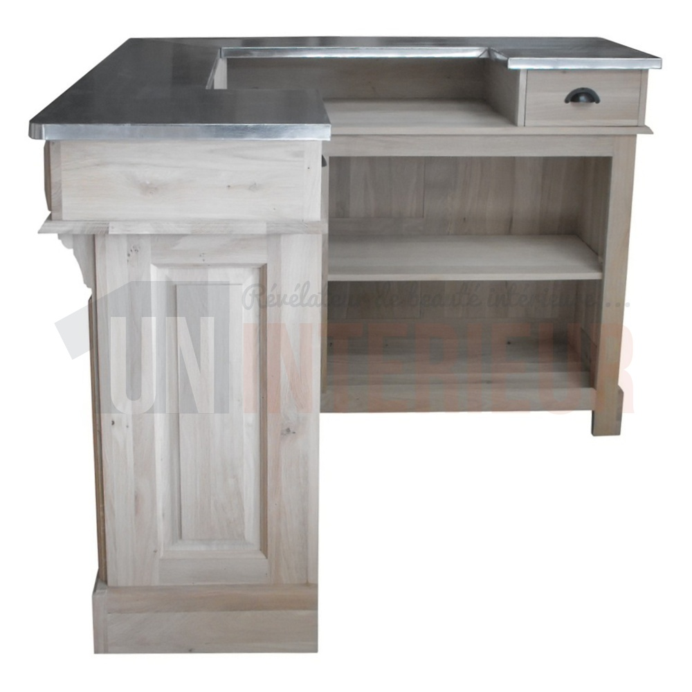 Meuble bar d 39 angle en ch ne massif plateau zinc 140cm for Meuble sous bar