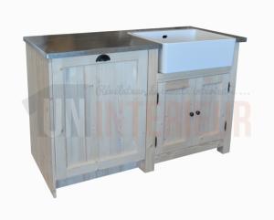 meuble vier avec timbre d 39 office et espace lave vaisselle pin massif zinc. Black Bedroom Furniture Sets. Home Design Ideas