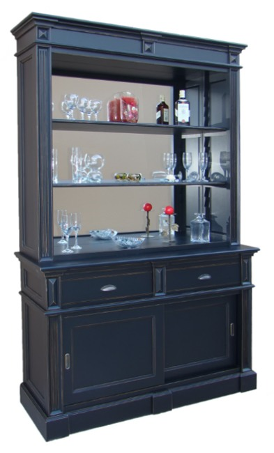 meuble fond de bar vitr en pin massif 2 portes 140cm. Black Bedroom Furniture Sets. Home Design Ideas