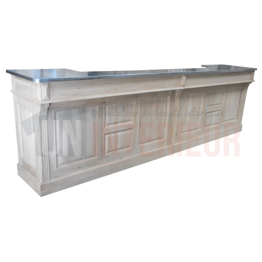 Comptoir bar chr en ch ne massif 360cm plateau zinc for Meuble sous bar